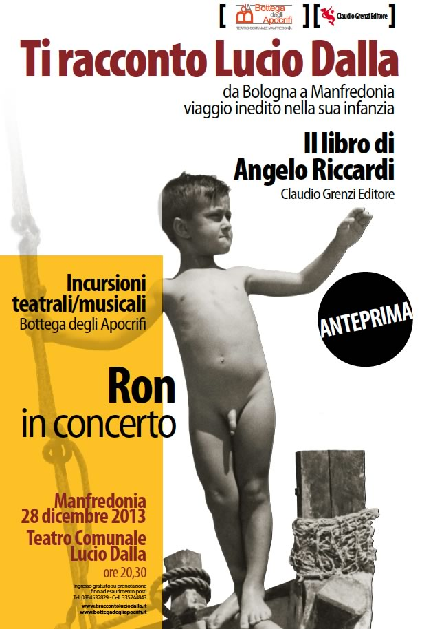 """Sabato 28 dicembre l'anteprima di presentazione del libro """"Ti racconto Lucio Dalla"""" di Angelo Riccardi"""