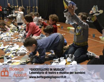 """""""Giocoteatro in musica"""": da venerdì 15 gennaio il nuovo laboratorio di teatro e musica per bambini di Bottega degli Apocrifi"""